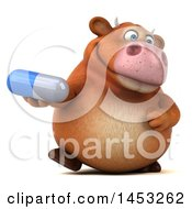 3d Brown Cow Character Holding A Pill On A White Background