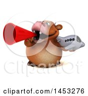 Poster, Art Print Of 3d Brown Cow Character Holding A Plane On A White Background
