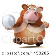 3d Brown Cow Character Holding A Golf Ball On A White Background