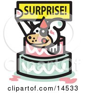 Cute Dog Holding A Surprise Sign And Popping Out Of A Birthday Cake Clipart Illustration