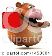 3d Brown Cow Character Holding A Shopping Bag On A White Background