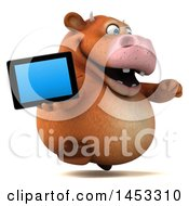 3d Brown Cow Character Holding A Tablet Computer On A White Background