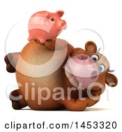 3d Brown Cow Character Holding A Piggy Bank On A White Background