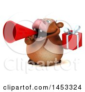 Poster, Art Print Of 3d Brown Cow Character Holding A Gift On A White Background