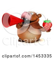3d Brown Cow Character Holding A Strawberry On A White Background