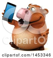 3d Brown Cow Character Holding A Smart Phone On A White Background