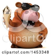 Poster, Art Print Of 3d Brown Cow Character Holding An Ice Cream Cone On A White Background