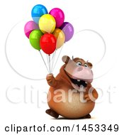 Clipart Graphic Of A 3d Brown Cow Character Holding Party Balloons On A White Background Royalty Free Illustration
