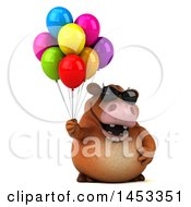 Poster, Art Print Of 3d Brown Cow Character Holding Party Balloons On A White Background