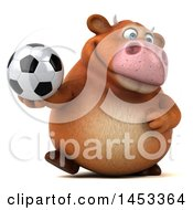 Poster, Art Print Of 3d Brown Cow Character Holding A Soccer Ball On A White Background