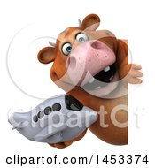 Clipart Graphic Of A 3d Brown Cow Character Holding A Plane On A White Background Royalty Free Illustration