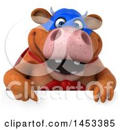 3d Brown Super Cow Character On A White Background