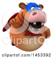 3d Brown Super Cow Character Flying On A White Background