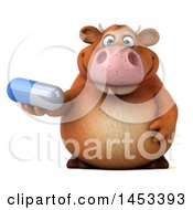 Clipart Graphic Of A 3d Brown Cow Character Holding A Diet Pill On A White Background Royalty Free Illustration by Julos