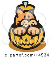 Orange Cat Inside A Halloween Pumpkin