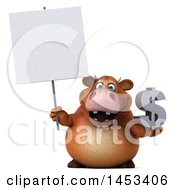 Poster, Art Print Of 3d Brown Cow Character Holding A Dollar Sign On A White Background