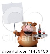 Clipart Graphic Of A 3d Brown Cow Character Holding A Wine Tray On A White Background Royalty Free Illustration by Julos