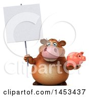 Poster, Art Print Of 3d Brown Cow Character Holding A Piggy Bank On A White Background