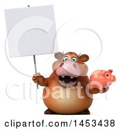 Clipart Graphic Of A 3d Brown Cow Character Holding A Piggy Bank On A White Background Royalty Free Illustration by Julos