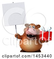 Clipart Graphic Of A 3d Brown Cow Character Holding A Gift On A White Background Royalty Free Illustration by Julos