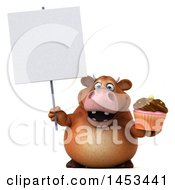 Clipart Graphic Of A 3d Brown Cow Character Holding A Cupcake On A White Background Royalty Free Illustration by Julos