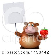 Clipart Graphic Of A 3d Brown Cow Character Holding A Strawberry On A White Background Royalty Free Illustration by Julos