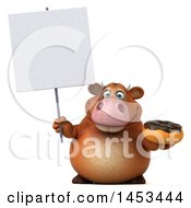 Clipart Graphic Of A 3d Brown Cow Character Holding A Donut On A White Background Royalty Free Illustration by Julos