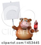 Poster, Art Print Of 3d Brown Cow Character Holding A Soda Bottle On A White Background