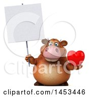 Clipart Graphic Of A 3d Brown Cow Character Holding A Love Heart On A White Background Royalty Free Illustration by Julos