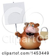 Clipart Graphic Of A 3d Brown Cow Character Holding A Padlock On A White Background Royalty Free Illustration by Julos