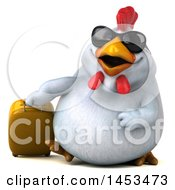Poster, Art Print Of 3d Chubby White Chicken Traveler On A White Background