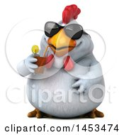 Poster, Art Print Of 3d Chubby White Chicken Holding A Beverage On A White Background