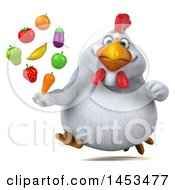 3d Chubby White Chicken Holding Produce On A White Background