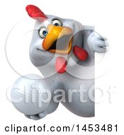 3d Chubby White Chicken Holding A Golf Ball On A White Background