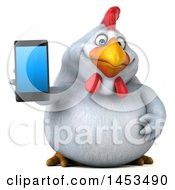 3d Chubby White Chicken Holding Out A Smart Phone On A White Background