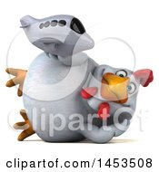Poster, Art Print Of 3d Chubby White Chicken Holding A Plane On A White Background