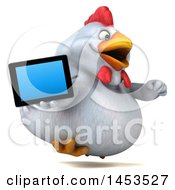 3d Chubby White Chicken Holding A Tablet Computer On A White Background