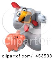 3d Chubby White Chicken Holding A Piggy Bank On A White Background