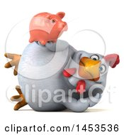 Poster, Art Print Of 3d Chubby White Chicken Holding A Piggy Bank On A White Background