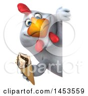 3d Chubby White Chicken Holding A Waffle Ice Cream Cone On A White Background