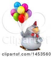 Clipart Graphic Of A 3d Chubby White Chicken Holding Party Balloons On A White Background Royalty Free Illustration