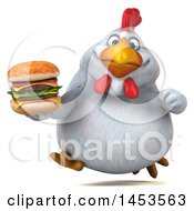 Poster, Art Print Of 3d Chubby White Chicken Holding A Burger On A White Background