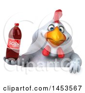Poster, Art Print Of 3d Chubby White Chicken Holding A Soda Bottle On A White Background