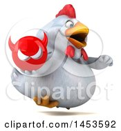 Clipart Graphic Of A 3d Chubby White Chicken Holding A Devil Head On A White Background Royalty Free Illustration