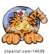 Orange Cat Wearing A White Nursing Hat With A Red Cross On It Clipart Illustration