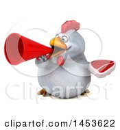 Poster, Art Print Of 3d Chubby White Chicken Holding A Steak On A White Background