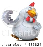 3d Chubby White Chicken Holding A Euro Symbol On A White Background