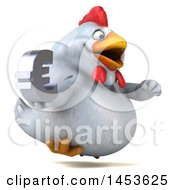 Poster, Art Print Of 3d Chubby White Chicken Holding A Euro Symbol On A White Background