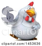 3d Chubby White Chicken Holding A Dollar Sign On A White Background