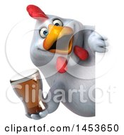 Poster, Art Print Of 3d Chubby White Chicken Holding A Beer On A White Background
